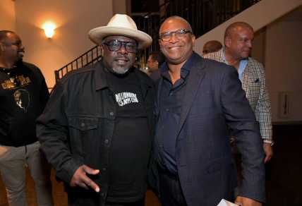 """LOS ANGELES, CALIFORNIA - JUNE 03: Cedric the Entertainer and Reginald Hudlin attend Netflix world premiere of """"THE BLACK GODFATHER at the Paramount Theater on June 03, 2019 in Los Angeles, California. (Photo by Charley Gallay/Getty Images for Netflix)"""