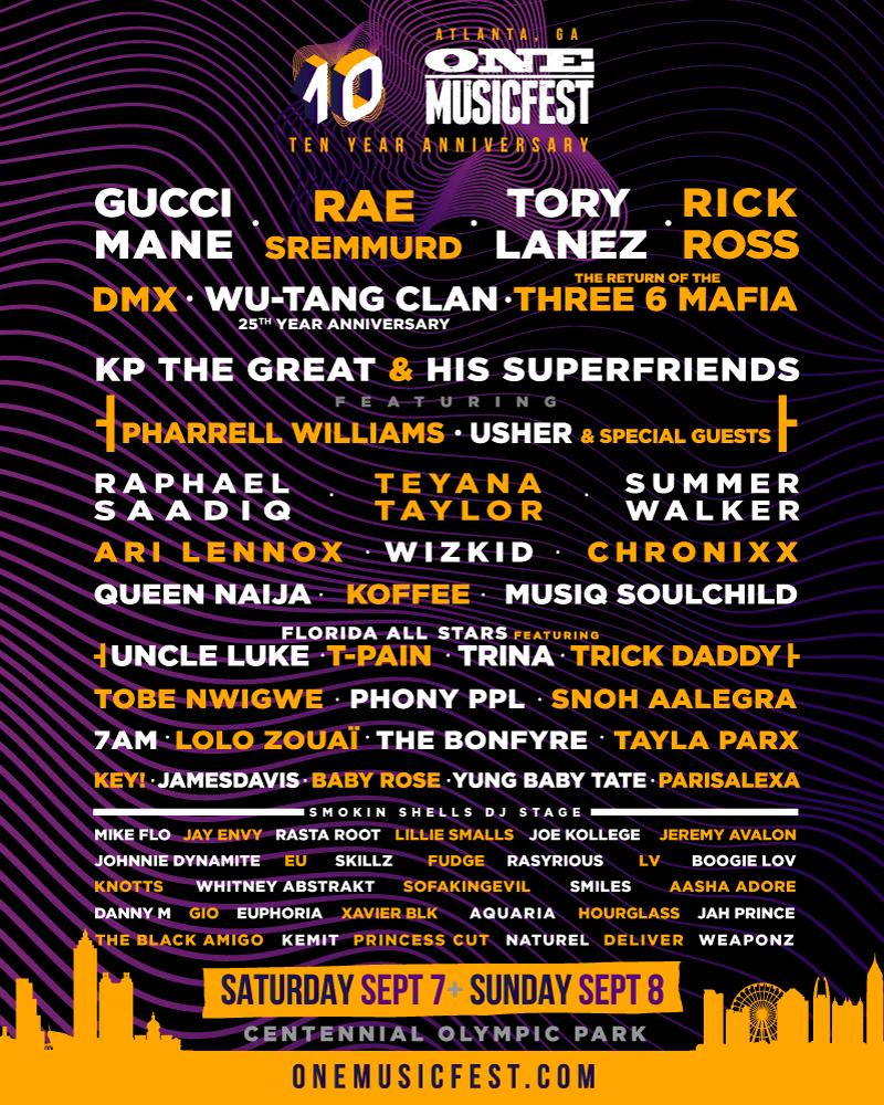 ONE Musicfest 10 Year Anniversary is taking over Atlanta! Feat. Wu-Tang Clan, Summer Walker, Rick Ross, Rae Sremmurd, Raphael Saadiq & more [Event]