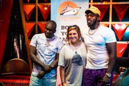 Pardison Fontaine and Zoey Dollaz pose with a lucky fan during the Blowpro Meet & Greet
