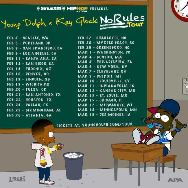 """Young Dolph & Key Glock Announce Nationwide """"No Rules Tour,"""" Kicking Off in February"""