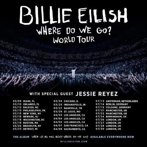 JESSIE REYEZ JOINS BILLIE EILISH ON THE WHERE DO WE GO? WORLD TOUR!