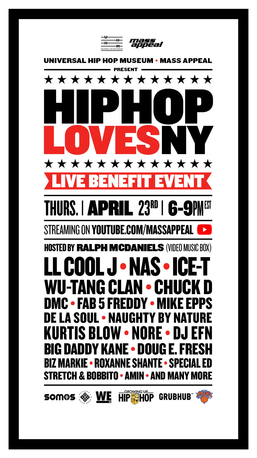 """TUNE IN TONIGHT: """"HIP HOP LOVES NY"""" A SIMULCAST LIVE STREAMING BENEFIT EVENT TO SUPPORT NY HEATHCARE WORKERS"""