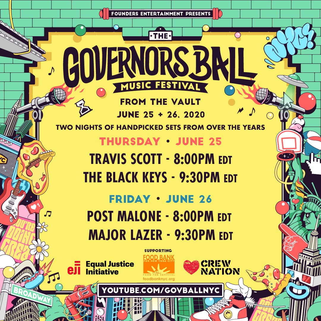"""Travis Scott, Post Malone, The Black Keys + Major Lazer sets continue Governors Ball's """"From The Vault"""" series"""