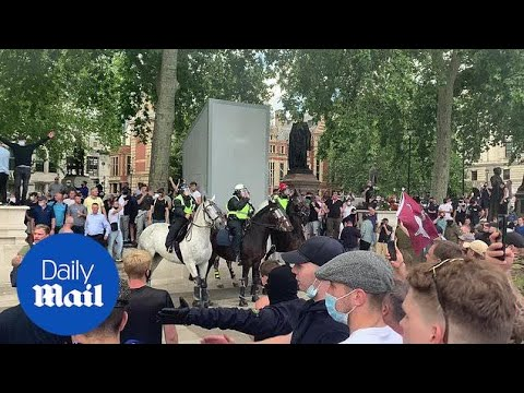 Firework thrown and riot police move in at BLM counter protest in London