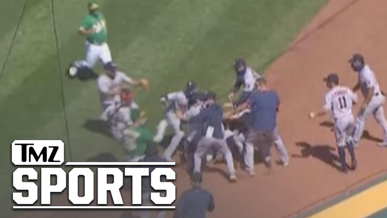 Oakland A's Batter Laureano Charges Astros' Dugout, Brawl Ensues | TMZ Sports
