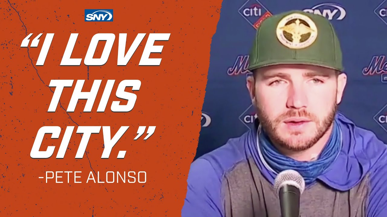 Pete Alonso talks about 9/11, and wearing first responders caps | New York Mets | SNY