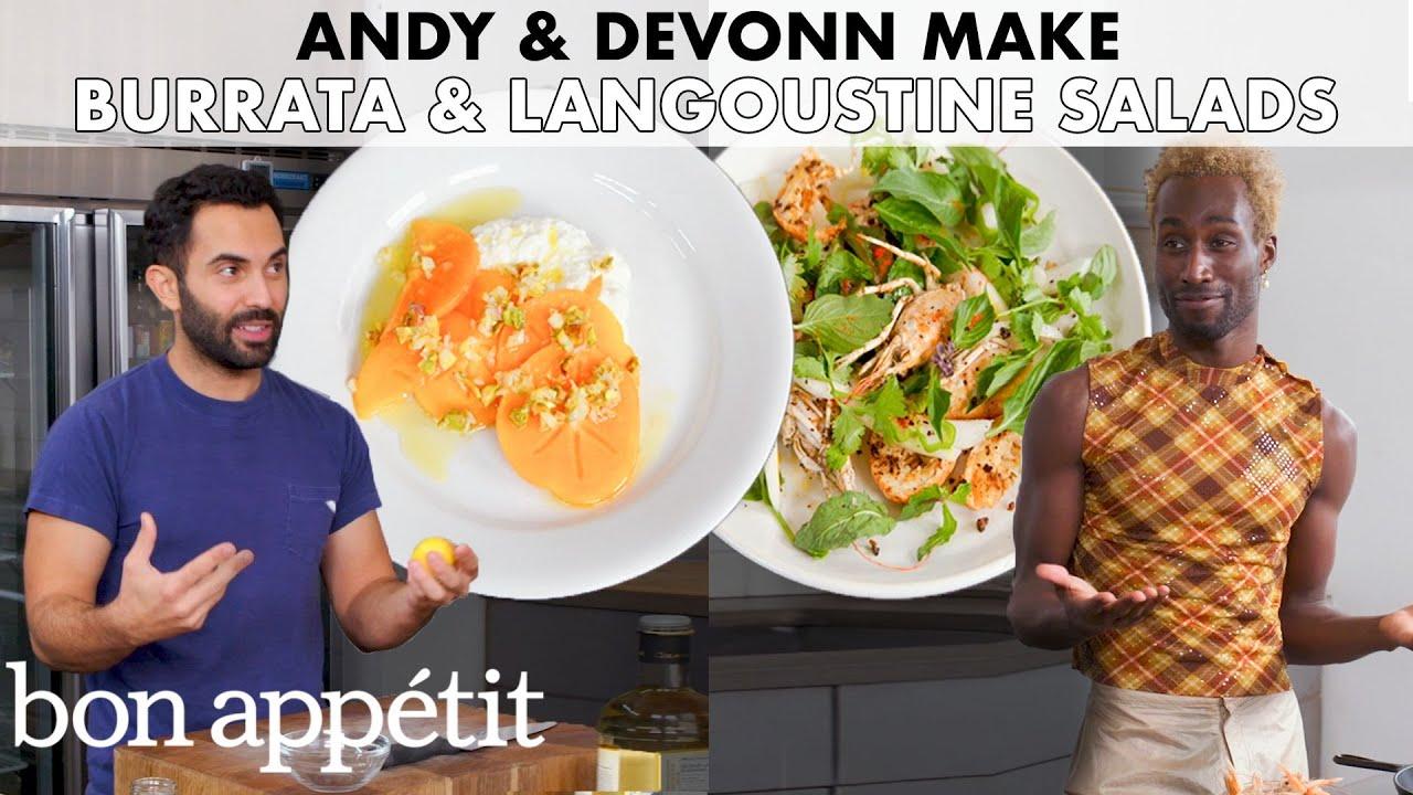 Andy And DeVonn Make Burrata & Langoustine Salads   From the Home Kitchen   Bon Appétit