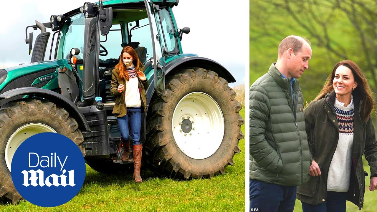 Kate Middleton drives a huge tractor during royal visit to Manor Farm