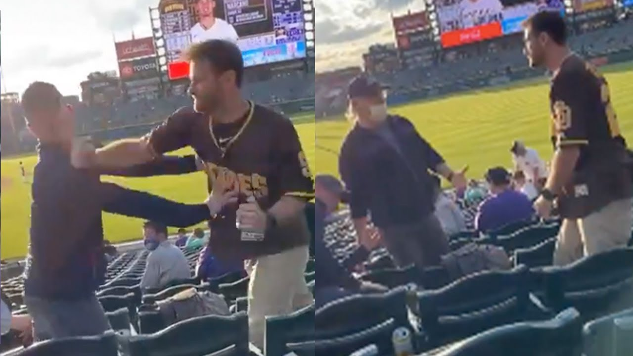 Padres Fan Walks Up, Knocks Rockies Fan Out Cold & Unconscious With One Punch During Game
