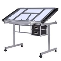 Tangkula Adjustable Drawing Desk Rolling Drafting Table ...