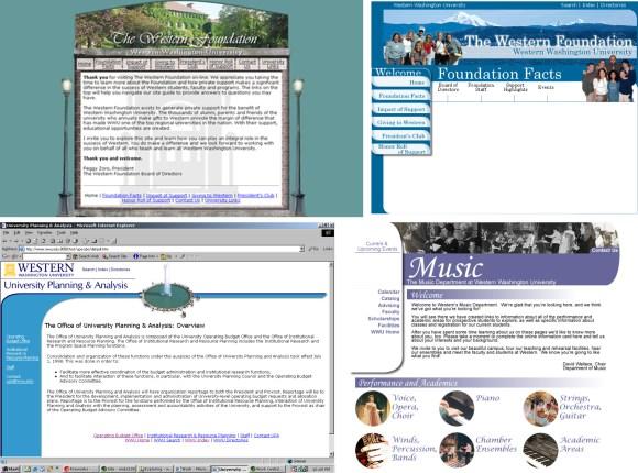 Early academic department website screenshots