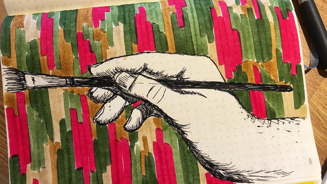 Hand holding a paintbrush. Illustration.