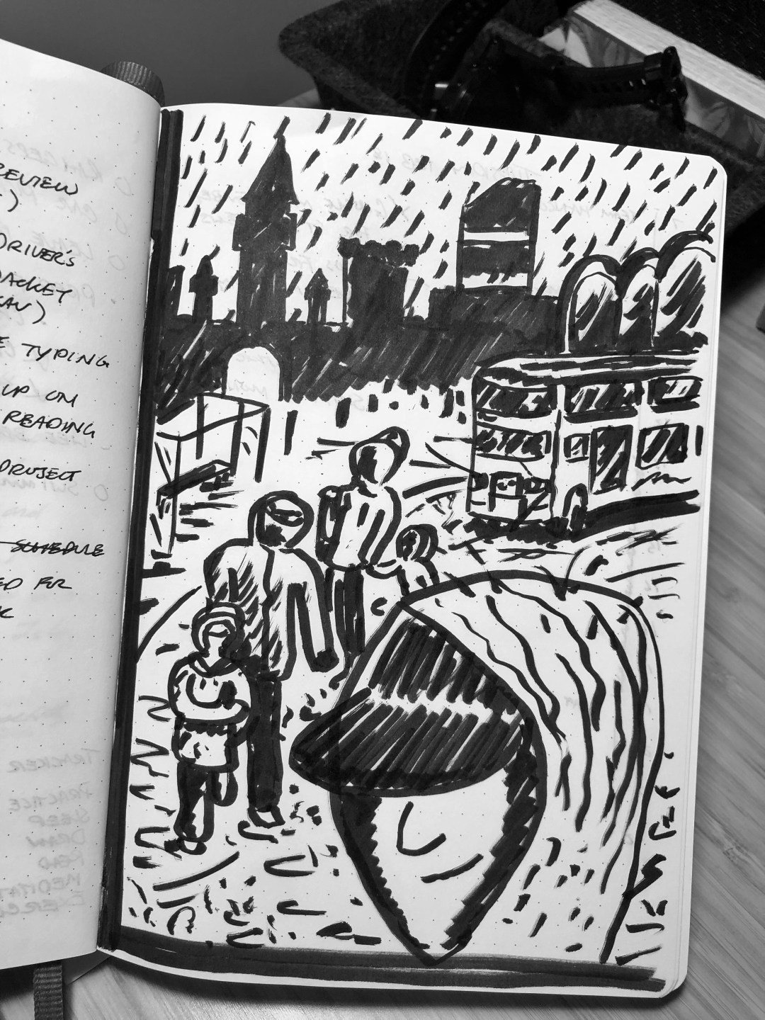 Standing in the rain waiting for a bus. Illustration.