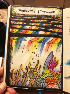 Abstract pools of water with rainbow colors. Illustration.