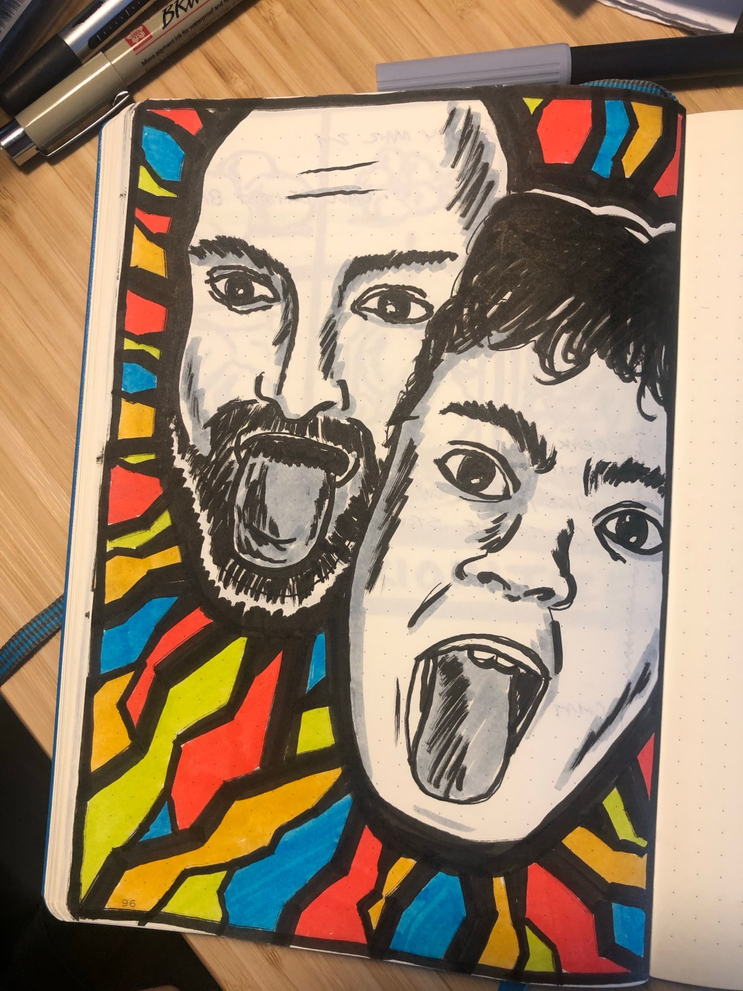 Dad and Sam sticking tounges out. Illustration.