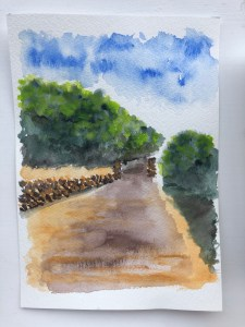 Quick outdoor watercolor painting