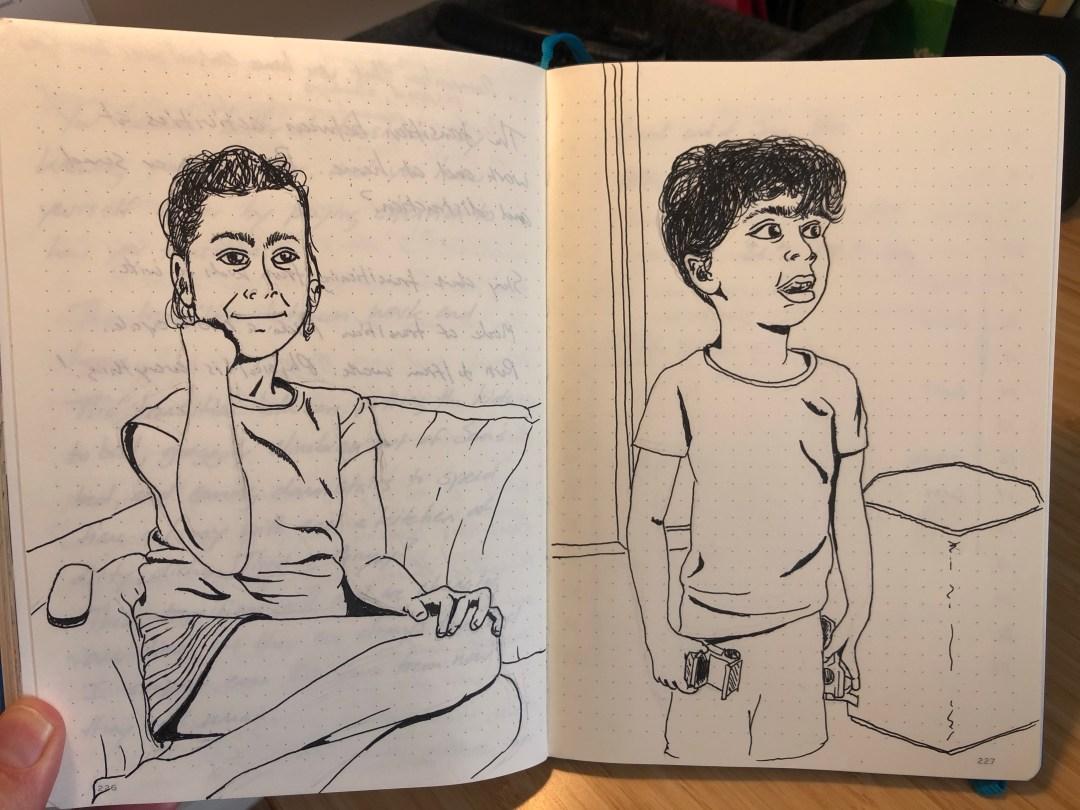 Drawing of Vivian and Sam