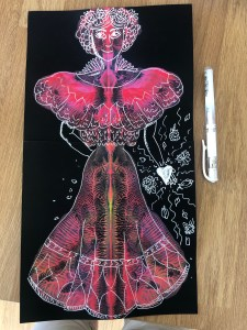 Painting with pen on top