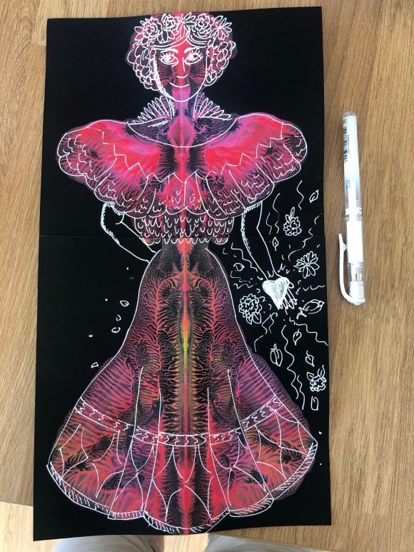 Blot painting with pen on top