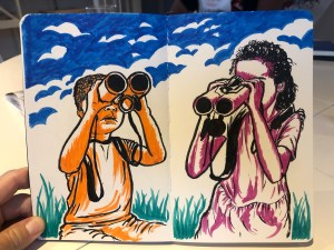 Illustration of kids looking through binoculars