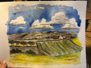 Watercolor painting of farm fields on a sunny fall day