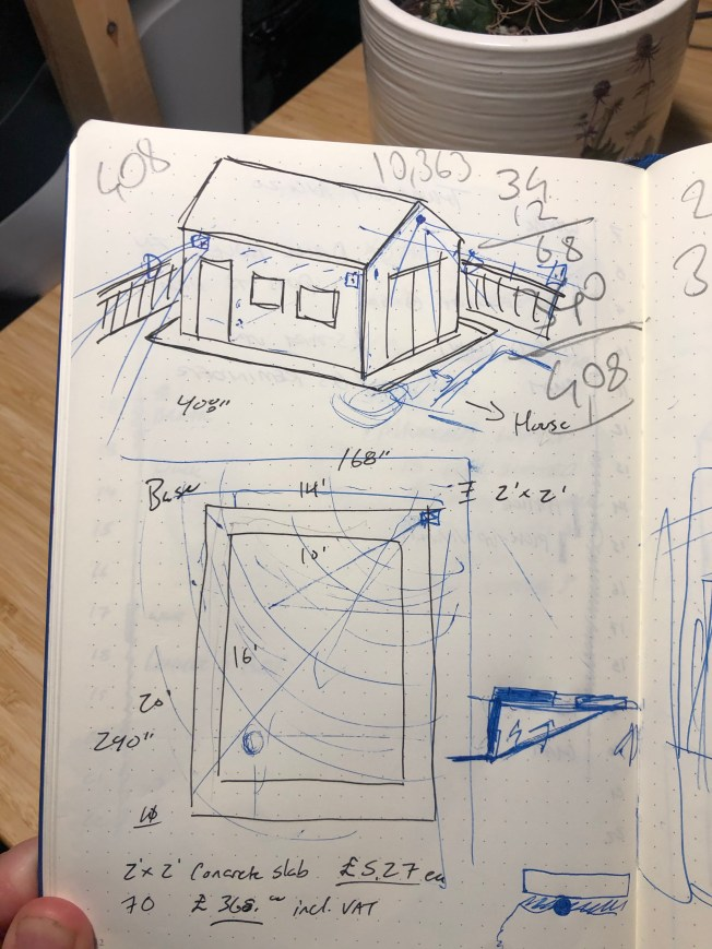 Notebook sketch of the dimensions and size for a shed.