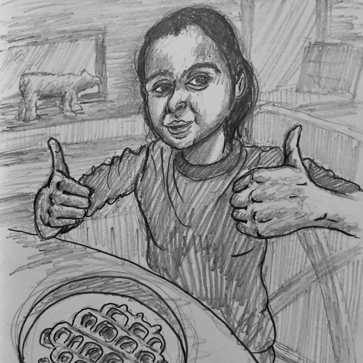 Drawing of Vivian giving two thumbs up for her plate of waffles.