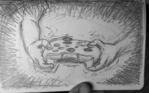 Hands holding an Xbox controller. Illustration.