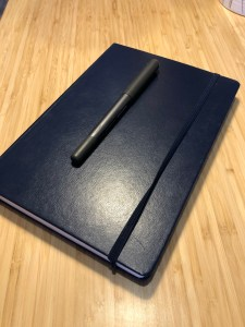 Notebook on a desk with a pen on top.