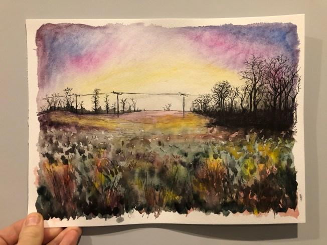 Watercolor painting of our field where we walk at sunset.