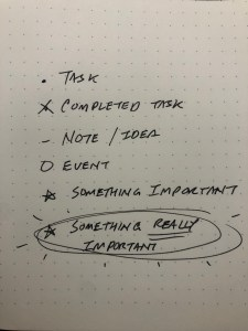 Notation for items in my daily entry in my notebook.