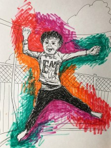 Illustration of boy jumping on trampoline with tongue out.