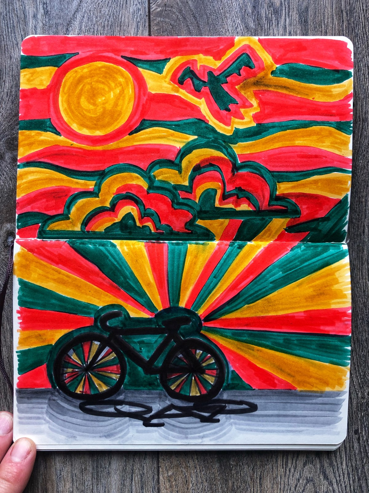 Color illustration of a bike and clouds.