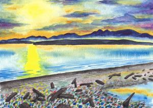 Watercolor painting of Whidbey Island in Washington State