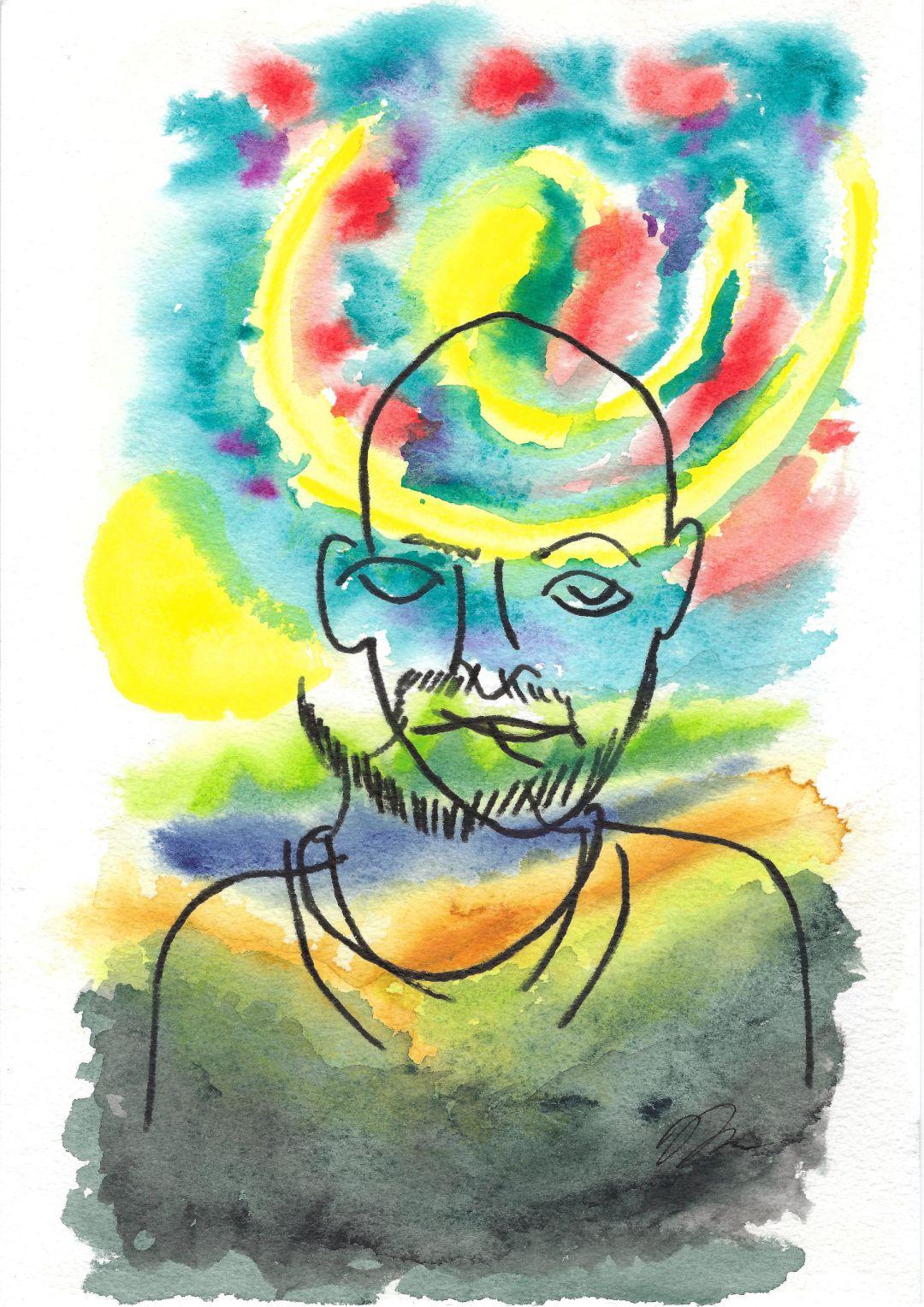 Contour line drawing of blind self portrait.