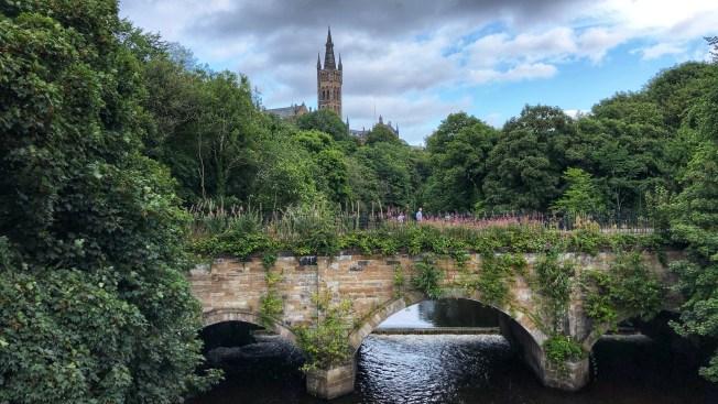 Kelvingrove park bridge in Glasgow, Scotland.