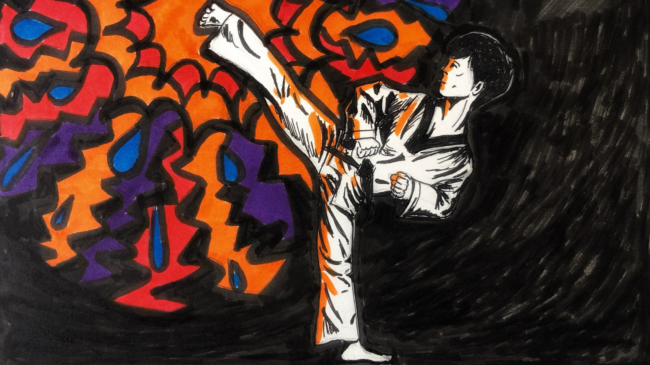 Illustration of a Taekwondo high kick