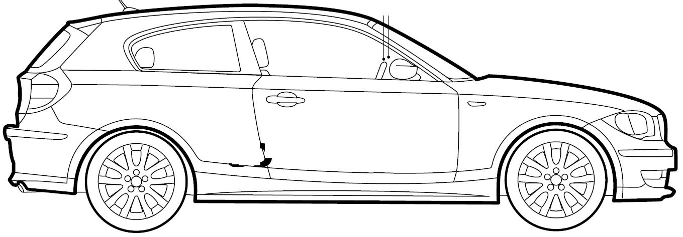 2009 BMW 1-Series E81 3-door Hatchback blueprints free