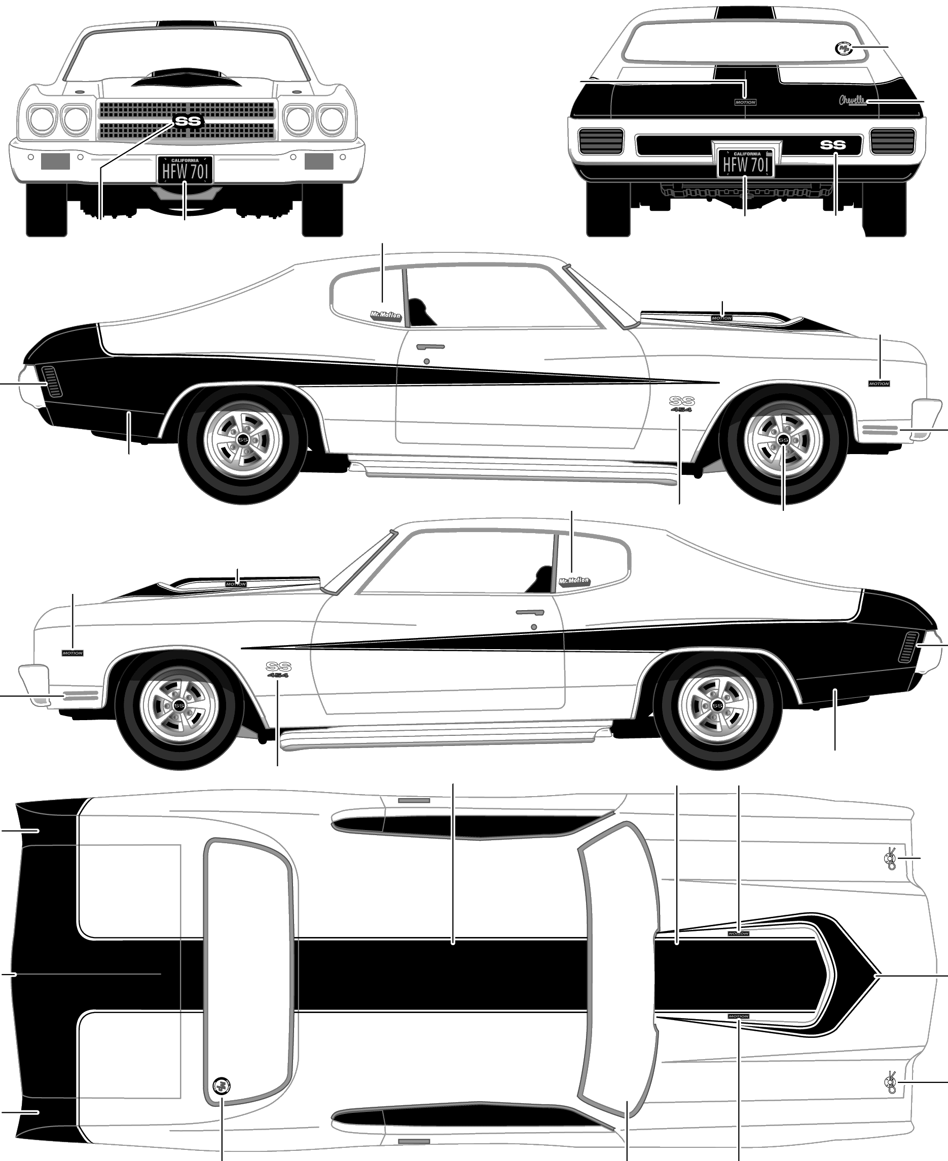 Chevrolet Baldwin Motion Chevelle Coupe Blueprints