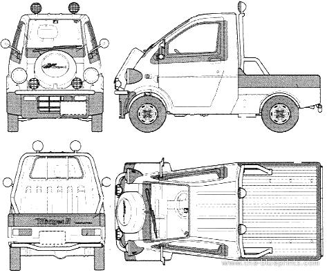 1996 Daihatsu Midget II Type R Heavy Truck blueprints free