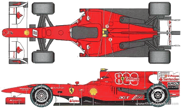 The controls seem almost ancient by today's standards,. 2010 Ferrari F10 F1 GP Formula blueprints free - Outlines