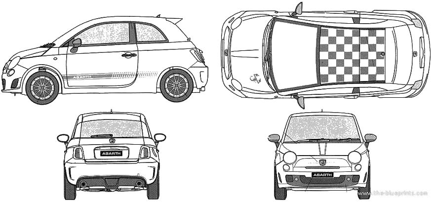 2009 Fiat Abarth 500 esseesse Hatchback blueprints free