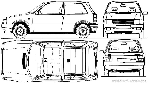1987 Fiat Uno 3-door Turbo ie Hatchback blueprints free