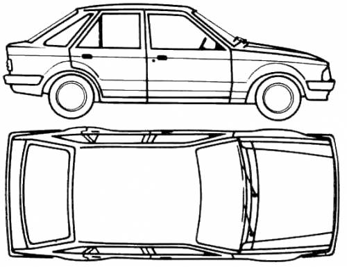 1980 Ford Escort Mk III 5 door Sedan blueprints free