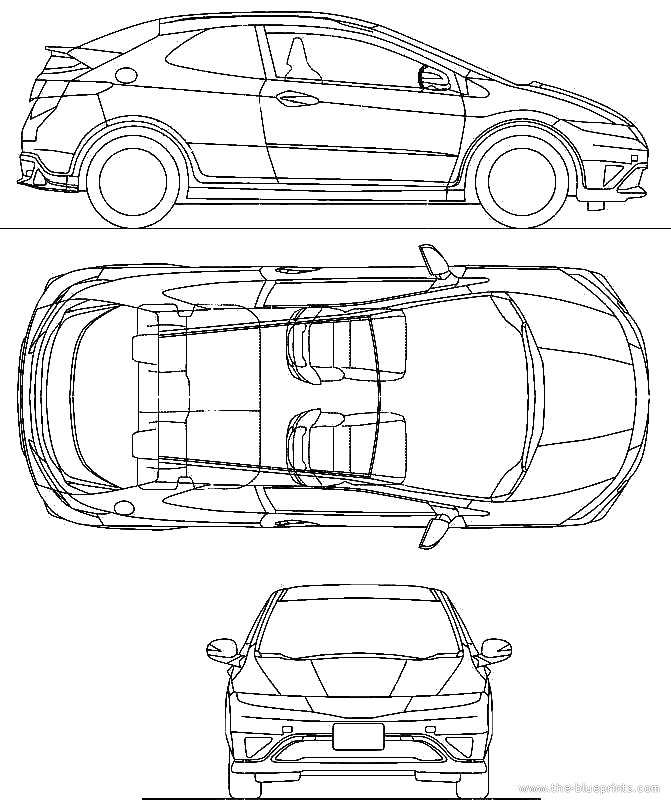 2010 Honda Civic Euro Type-R 3-door Hatchback blueprints