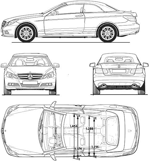 2010 Mercedes-Benz E-Class W212 Cabriolet blueprints free