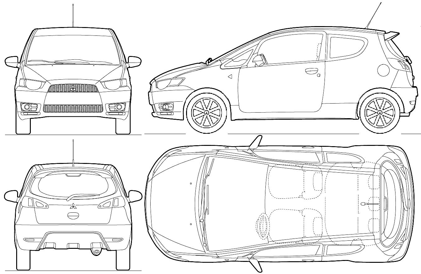 Mitsubishi Colt 3 Door Hatchback Blueprints Free