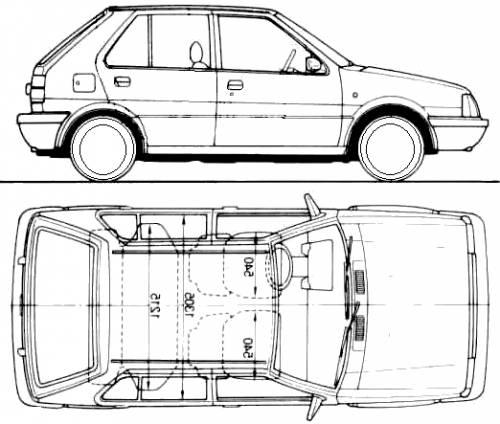 1990 Nissan Micra K10 5 door Hatchback blueprints free