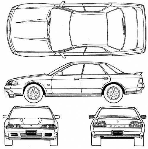 1989 Nissan Skyline GTS-T R32 Type M Sedan blueprints free