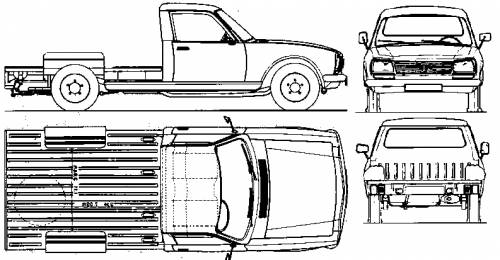 1985 Peugeot 504 Chassis Pickup Truck blueprints free